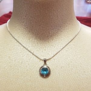 Aquamarine necklace and earrings set/ Sapphire